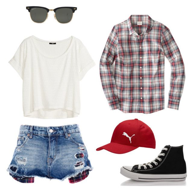 Short summer by tamaraispeople on Polyvore featuring H&M, Pull&Bear, Converse, Puma and Ray-Ban
