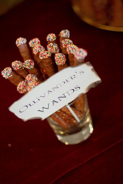 Pretzel wands. If I am so lucky to have a book themed baby shower, I MUST have a Harry Potter area!