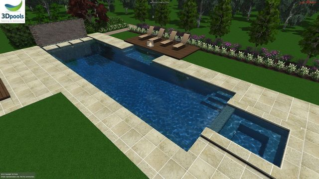 Large Modern Family Pool With Water Feature Wall Floating