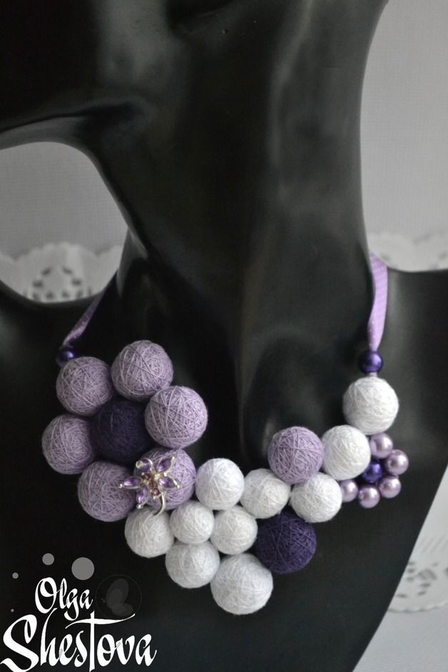 "Wristbands & Bracelets – Necklace from cotton balls ""Lilac Tenderne... – a unique product by OlgaShestova on DaWanda"