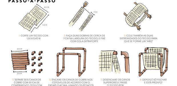 Tutorial Casa e Jardim: Aprenda a fazer um revisteiro com tecido e tubos de…