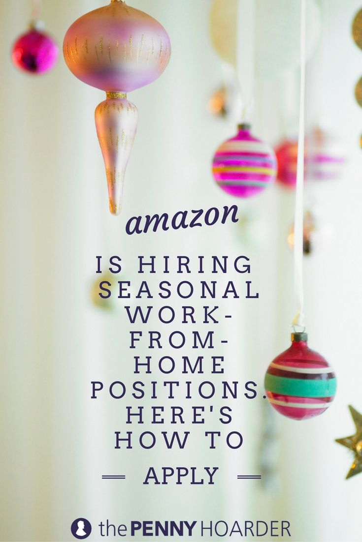 The holidays are coming -- and Amazon is gearing up for it. The online shopping giant is now hiring for seasonal, work-from-home jobs that pay $10 an hour! @thepennyhoarder