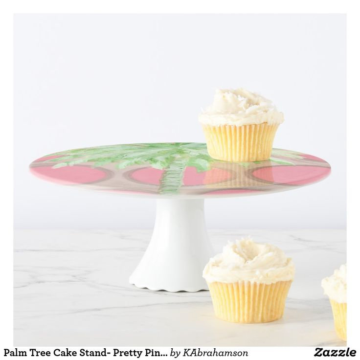 Palm tree gifts. Let them eat cake! Serve your favorite desserts in style with a Palm Tree Cake Stand. Pretty,  Preppy, Pink Polka Dots Cake Stand. Pretty pink housewarming gift. Preppy girl gift.
