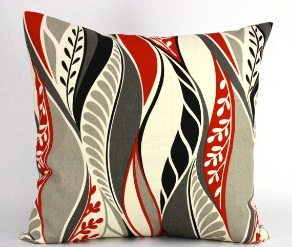 items similar to red black grey and tan pillow covers 20 x 20 inches decorative throw pillows on etsy