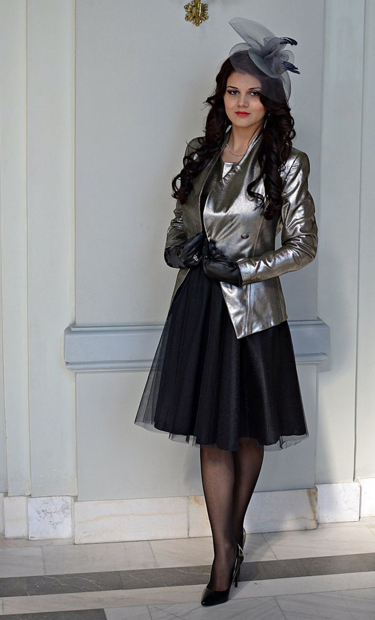 Silver leather jacket by DSTcraft on Etsy