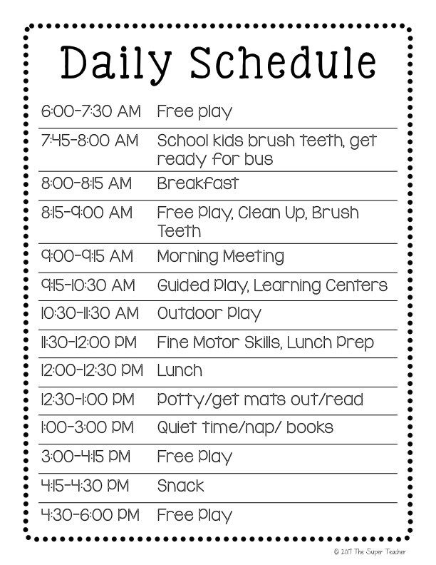 Daycare Schedule Daycare Activities