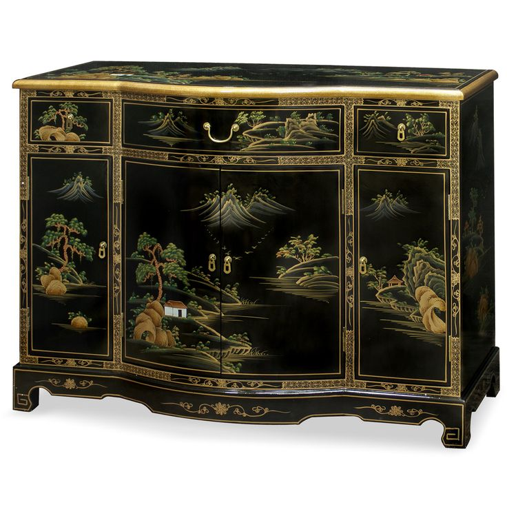 Superb Chinoiserie Scenery Console Cabinet