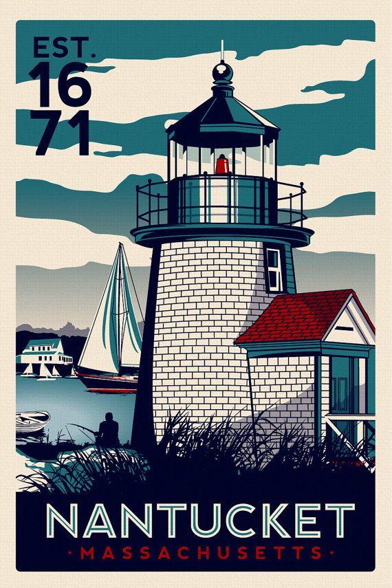 Nantucket Massachusetts Light House Retro Vintage nautical Screen Print poster…
