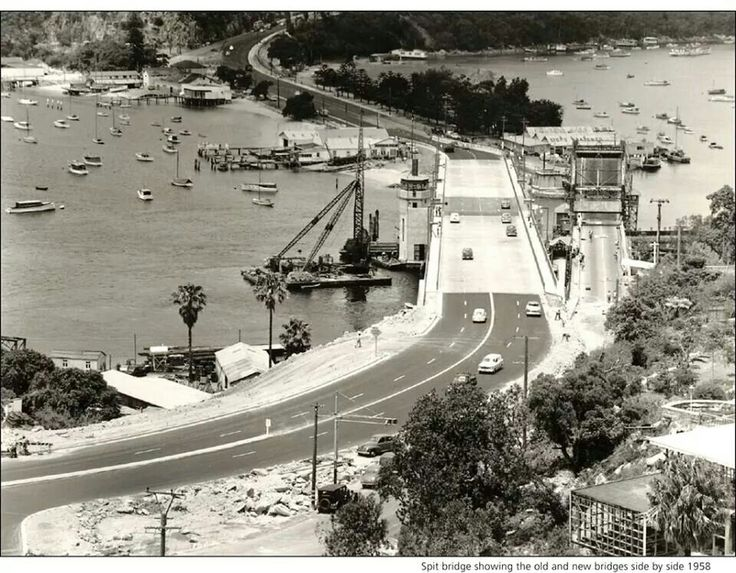 The Spit Bridge,Sydney in 1958,showing the old bridge alongside of the new bridge.A♥W