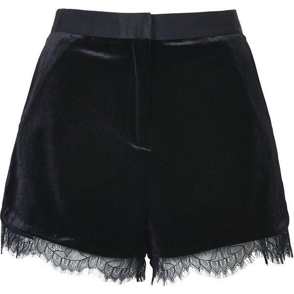 TOPSHOP Velvet Lace Shorts (380 MXN) ❤ liked on Polyvore featuring shorts, bottoms, topshop, pants, black, lace shorts, velvet shorts, lacy shorts and lace trim shorts