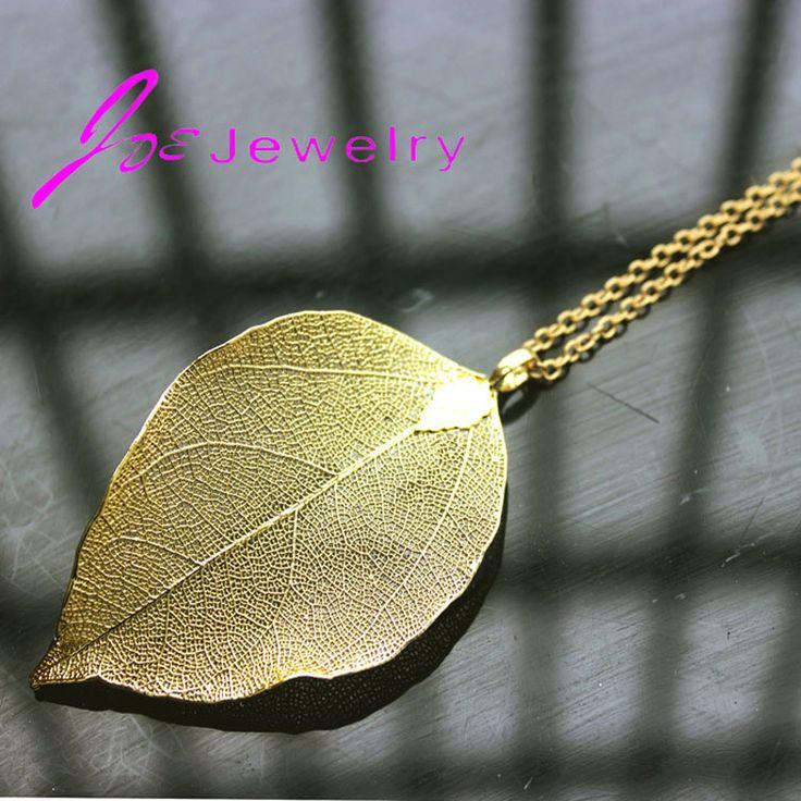 Последний лист 18 К настоящее серебрение природный листа золоте длинные ожерелья для женщин листья ожерелья аксессуары купить на AliExpress