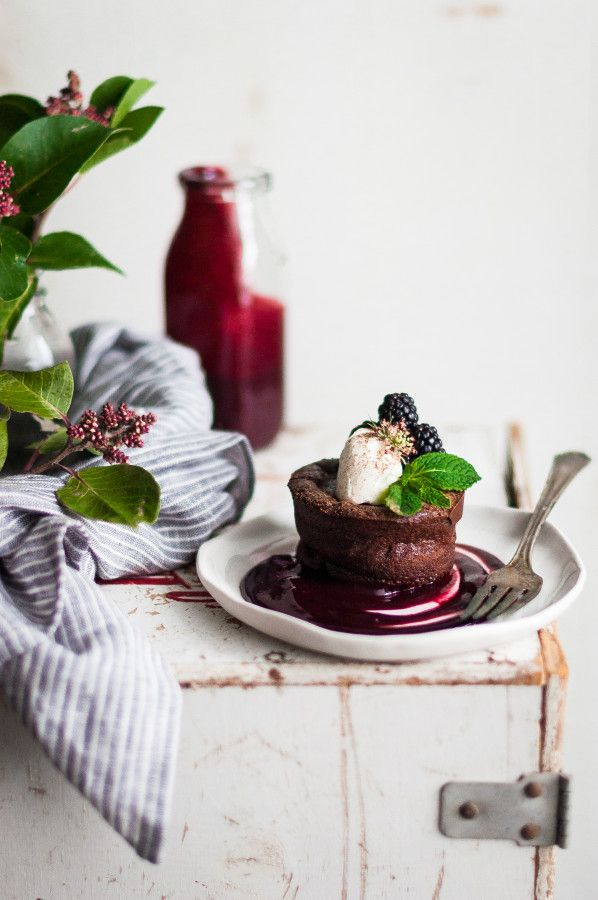 Flourless Chocolate Blackberry Tortes - The Kitchen McCabe