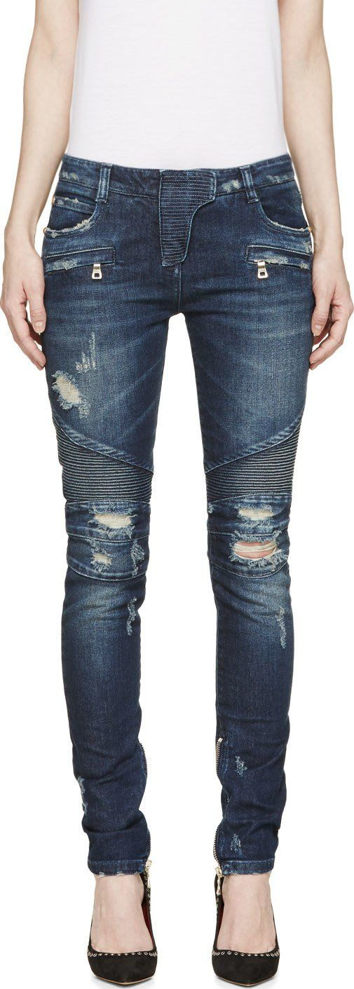 Balmain - Blue Distressed Biker Jeans