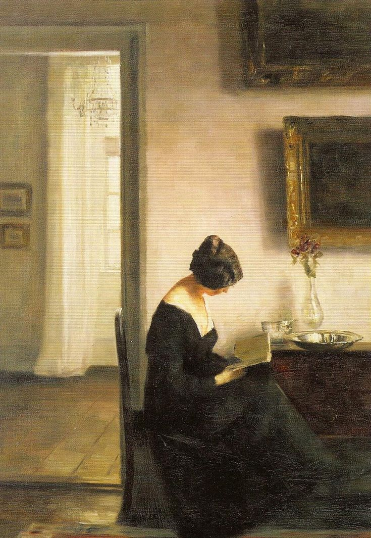Woman Reading in an Interior. Carl Vilhelm Holsoe (Danish, 1863-1935). Oil on canvas.