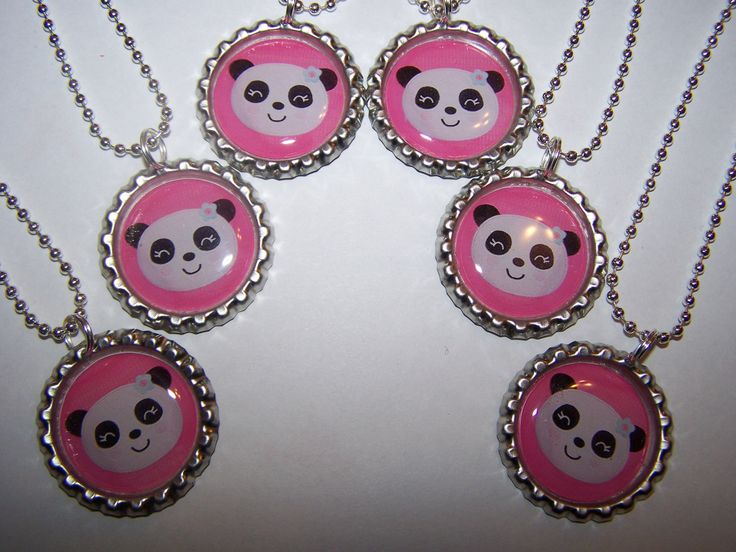Sweet Panda Bears Bottle Cap Necklaces Girls Birthday Party Favors