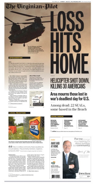 Virginian-Pilot front page of the shooting down of a U.S. Special Forces helicopter in Afghanistan by Colleen Kirsten. Simple, powerful.