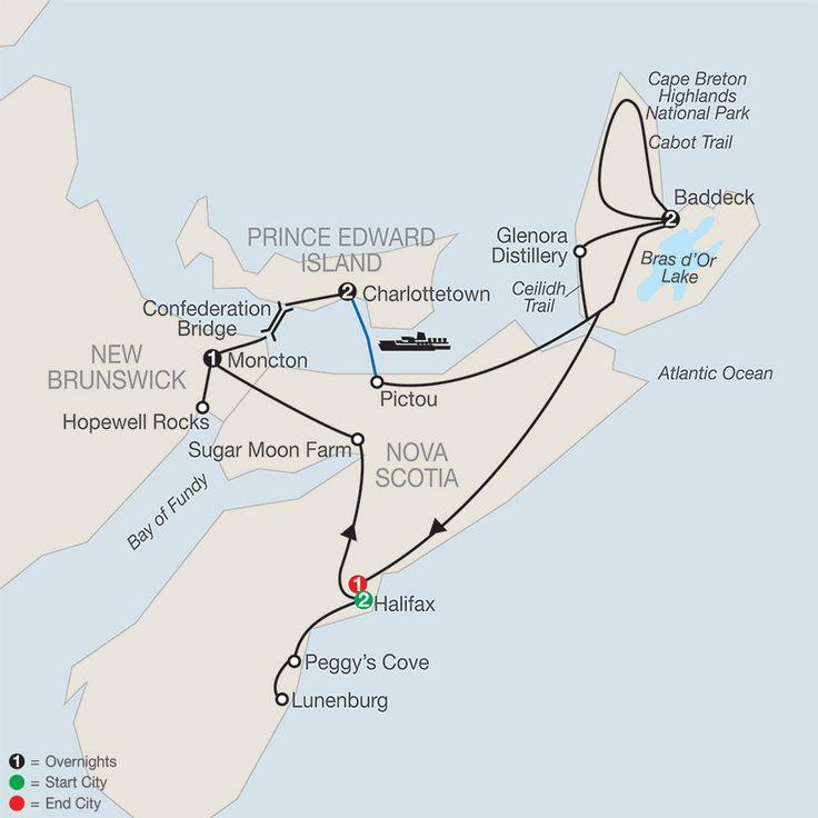 Wonders of the Maritimes & Scenic Cape Breton map
