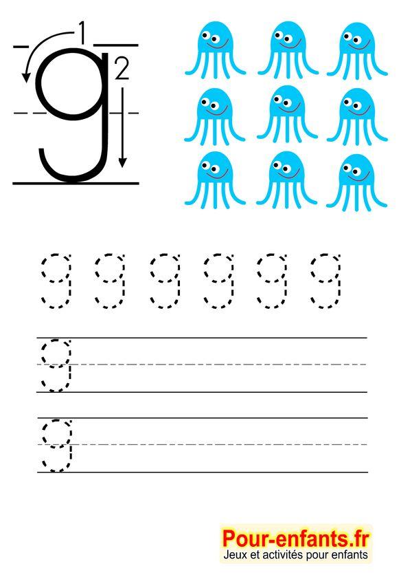 Apprendre à écrire les chiffres en maternelle gratuit cahier d'écriture à imprimer gratuitement Savoir écrire 9 neuf