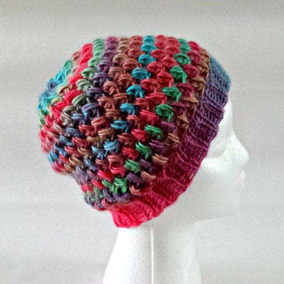 Bobble hat slouchy beanie crochet beanie puff by KnittingbyKali