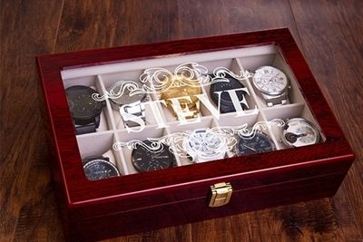 SignatureThings.com Brass Hardware Luxury 10 Slot Men's Watch Case - Personalized Leatherette Watch Box