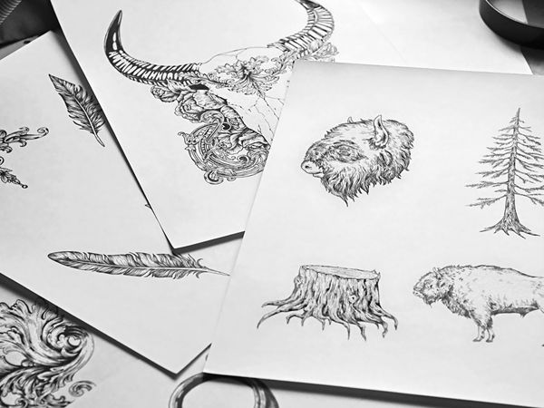 Original ink drawings for the Try Burger ( Nice ) by Theoretical part. traditional, tattoo style, wild nature, linework, lineart, vintage, black and white, graphics