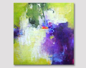 Originele abstract schilderij, acryl moderne kunstwerk, paars Lila violetblauwe yellowgreen kleurrijke illustraties op gespannen doek felle kleuren