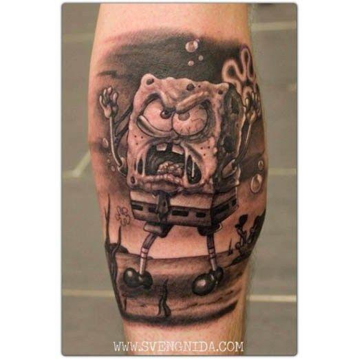 Spongebob from Sven Gnida. #Inked #inkedmag #tattoo #spongebob #cartoon #animation #squarepants