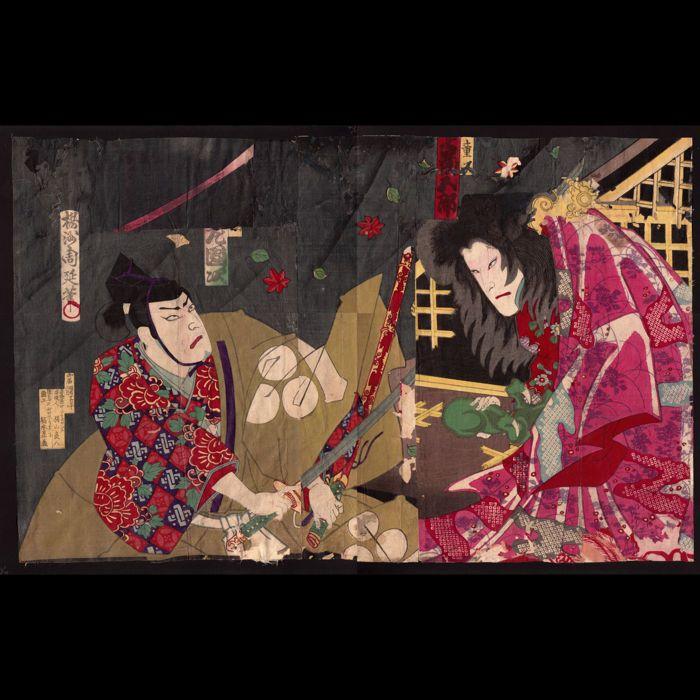 Originele woodblock print collage door Toyohara Chikanobu (1838-1912) - Japan - 1883  Woodblock print collage met prints door Toyohara (Yoshu) Chikanobu (1838-1912).Drie (drieluik-) bladen (delen van) zijn gemonteerd in een tweeluik collage met jaar van montage onbekend.Het gebruik van (beschadigd of oud) woodblock print op het fabriceren van nieuwe items (zoals versierde dozen) was niet ongewoon in de Meiji-periode.Hier het resultaat van de collage is een intrigerende sterke nieuwe foto en…