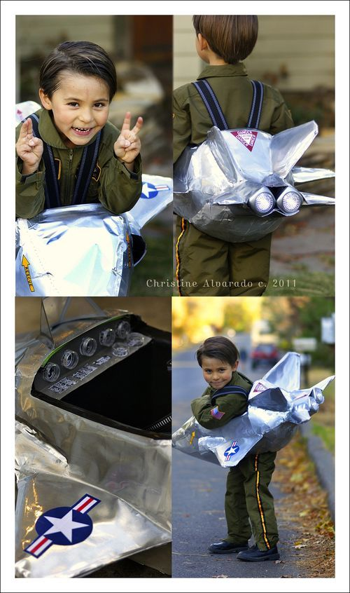 Jet fighter costume. The jet plane was handmade using foam, cheap LED tap lights, silver shelf liner adhesive paper,etc.. Image © Christine Alvarado, 2011. #kids #costume #jet