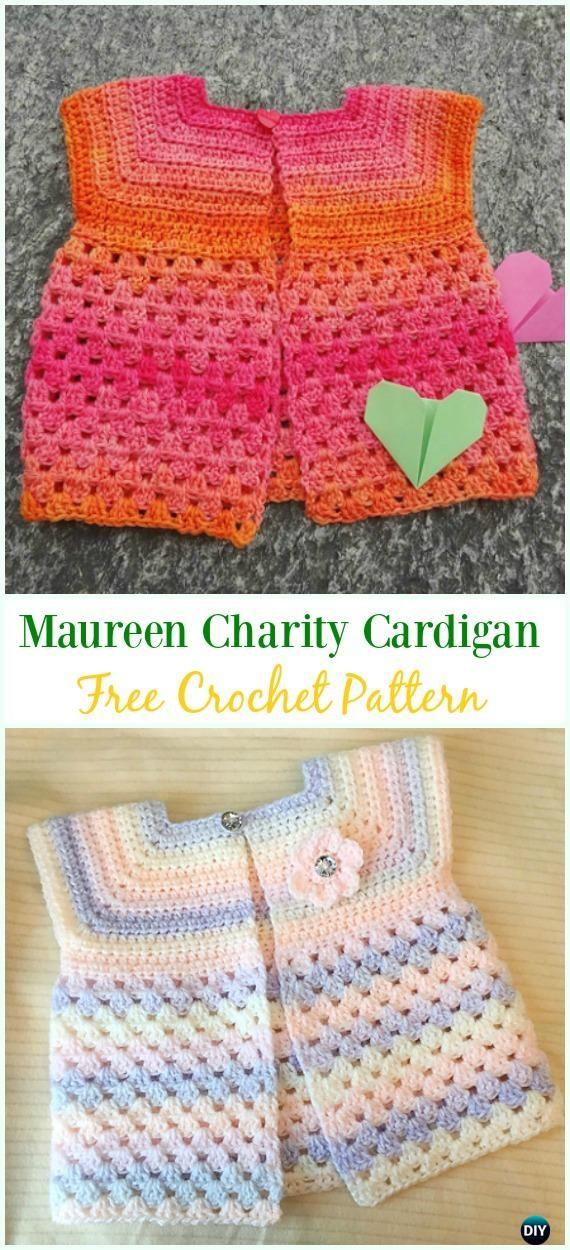 Crochet Maureen Charity Cardigan Free Pattern - #Crochet Kid's #Cardigan Sweater Coat Free Patterns