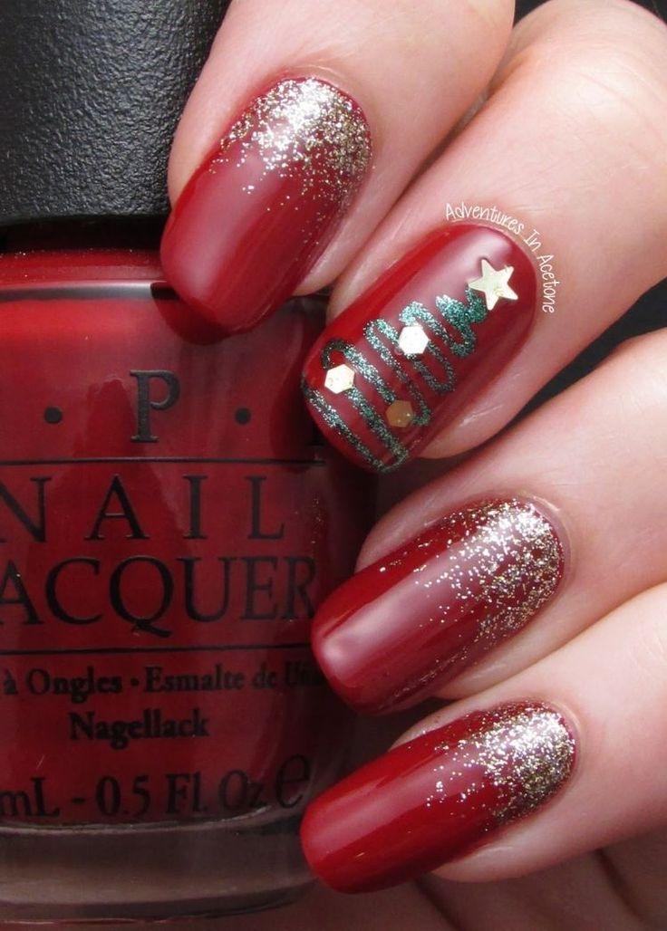 déco ongles Noël base rouge et sapin avec une étoile
