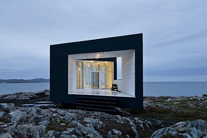 An artist residency studio on Fogo Island in Newfoundland blends to its Nordic surroundings with a black exterior.