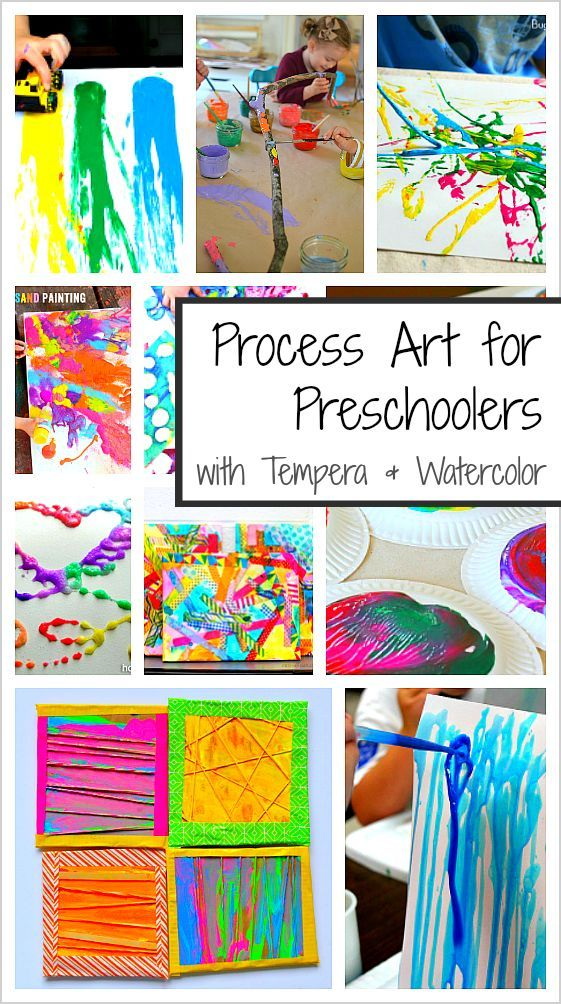 20+ Process Art Activities for Preschoolers: Over 20 art projects for kids using tempera and watercolor paints including painting with cars, splatter paint, paper plate prints and more!