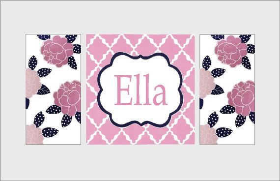 large nursery art- personalized painting- M2M pottery barn kids mallory bedding- pink navy floral on Etsy, $275.00