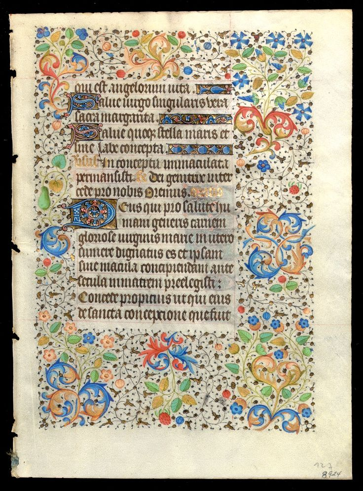 A leaf from an important illuminated manuscript, Book of Hours, Use of Rouen, in Latin and French, on vellum, circa 1450, (190x140 mm.)