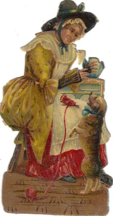 Old Mother Hubbard Victorian Die Cut Scrap c1880