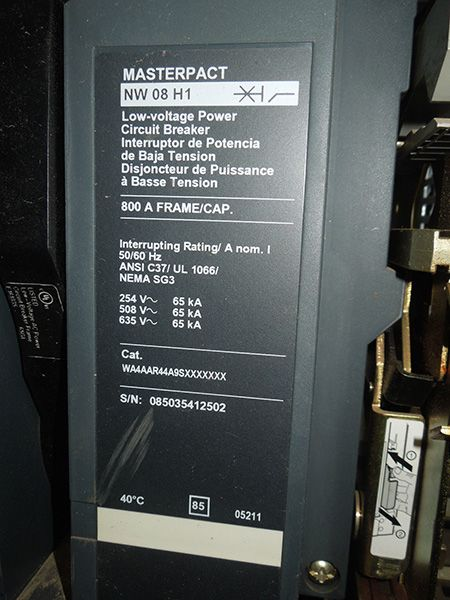 Nameplate of Square D Masterpact Circuit Breaker NW08H1 800A ... on square d multi 9, square d 100 amp panel template, square d sef, square d la, square d altivar, square d powerpact, square d powerlogic, square d electrical panel schedule template,