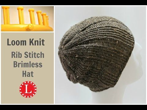 Loom Knitting Hat Rib Stitch Slight Slouch Brimless Beanie for Men and Women. - YouTube