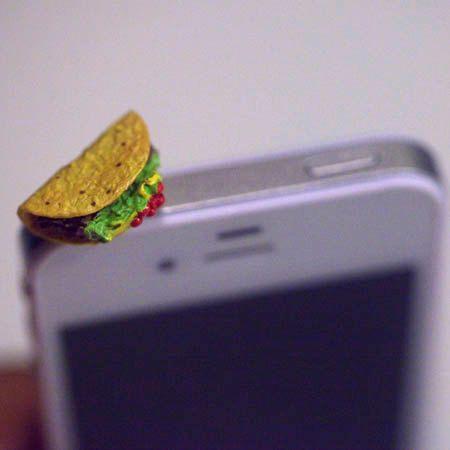 I WANT THIS!!!!!!   Kawaii TACO Iphone Earphone Plug/Dust Plug  by fingerfooddelight, $8.00