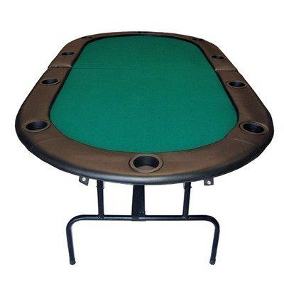 "84"" Foldable Texas Hold'em Poker Table in Green with Legs by JP Commerce. $141.28. CS-09610 Features: -Foldable Texas Hold'em poker table with legs.-Material: Solid wood with steel.-Padded armrest.-Padded felt top.-Sturdy folding metal legs and supports.-Folds in half for easy storage. Color/Finish: -Black colored plastic cup holders measuring 1.5'' in depth - secures beverages nicely without spilling. Specifications: -10 Player with cup holders.. Save 55%!"