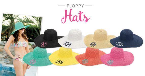 Monogrammed Floppy Hat Monogram Beach Hat by StylishMonogramGifts #hats #beach #summer