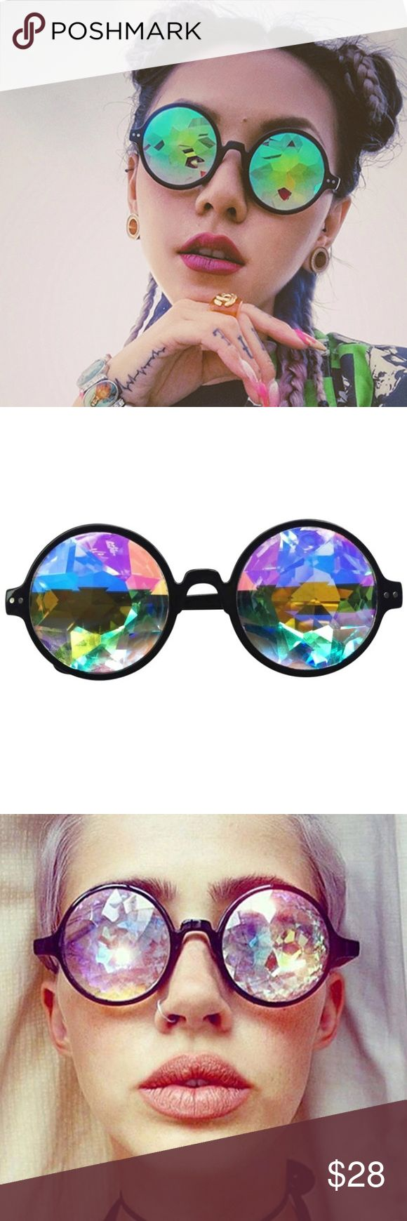 Black Holographic Kaleidoscope Festival Sunglasses Hologram glasses are the ultimate accessory for festival season. Bring these to concerts, Burning Man, Coachella, etc. Unif for exposure 👽 NEW ~Limited quantity~ UNIF Accessories Sunglasses