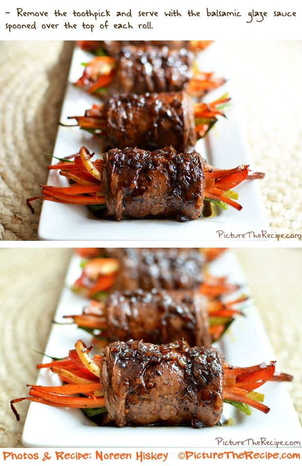 Balsamic Glazed Steak Rolls (flank steak rolled around carrots, bell peppers, zucchini, green onions, and garlic)