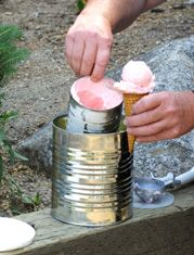 Kick (or roll) the Can Ice Cream! Great activity for kids.