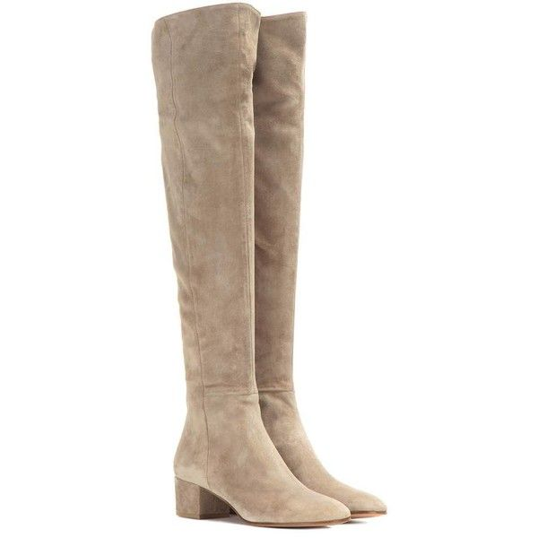Gianvito Rossi Rolling Suede Knee-High Boots ($1,675) ❤ liked on Polyvore featuring shoes, boots, botas, beige, beige boots, knee boots, gianvito rossi, suede knee-high boots and suede leather boots