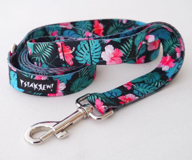 "Dog Leash Tropical Monstera width 2.5 cm, 1"", colorful designed pet leashes Psiakrew by PSIAKREW on Etsy"