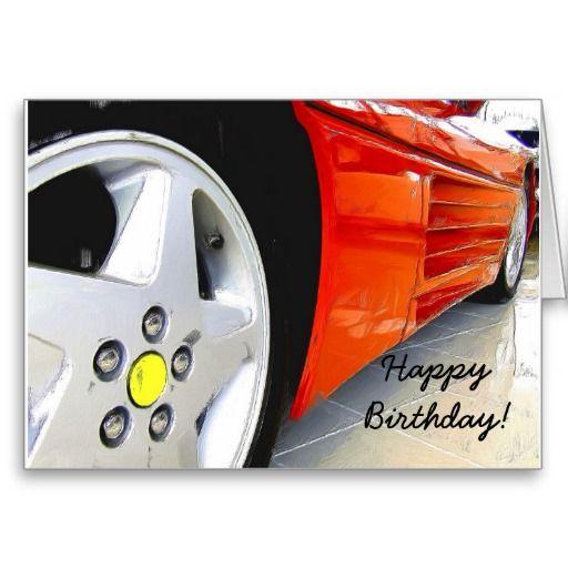 Happy Birthday Red Sports Car Greeting Card