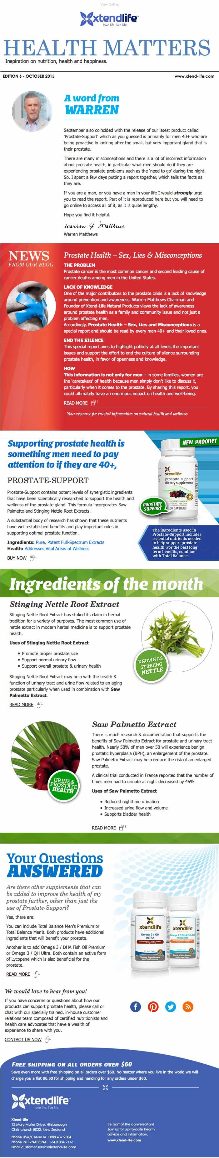 Health Matters |  A word from Warren  |  Prostate health - Sex, Lies & Misconceptions  |  Stinging Nettle Root Extract  |  Saw Palmetto Extract