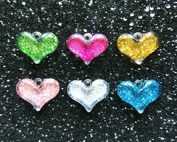 6 pcs  Glitter Puffy Heart Transparent Acrylic by CraftyMissBettie