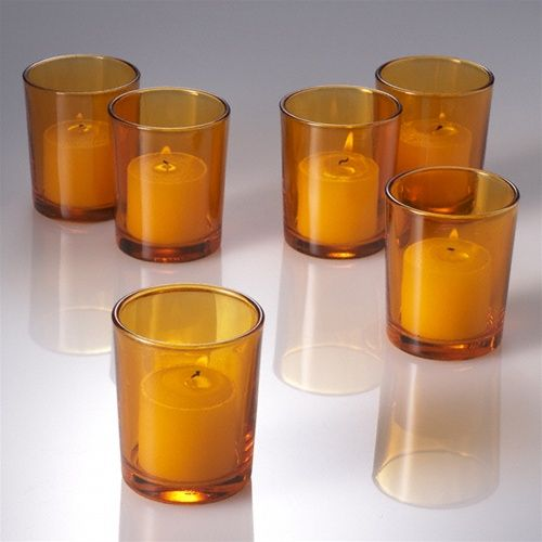 Eastland Votive Holder Amber Set Of 72 Colored Glass